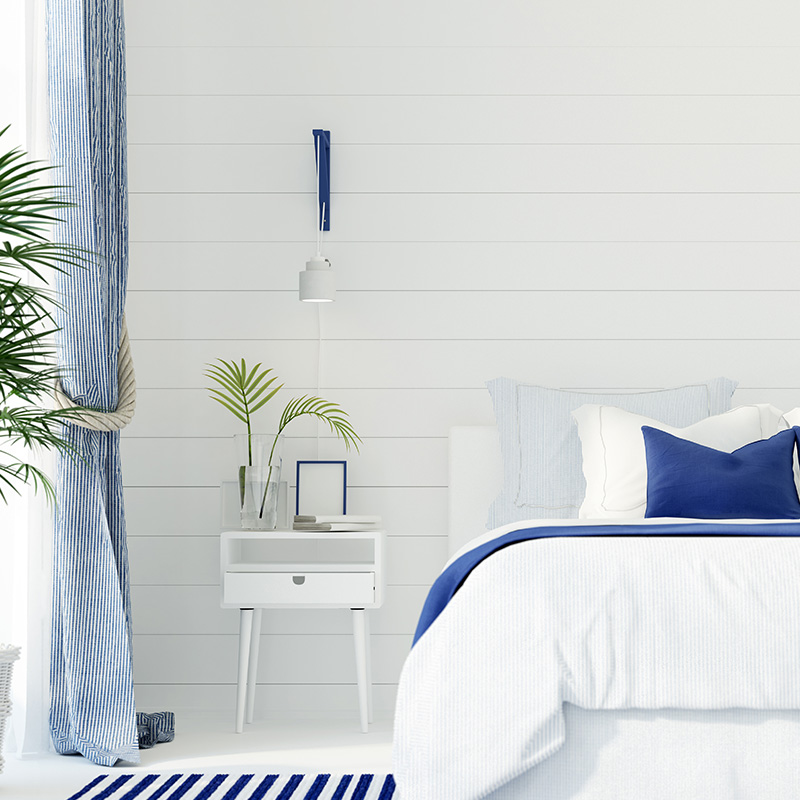 decoration bord de mer chambre rayures bleues blanches