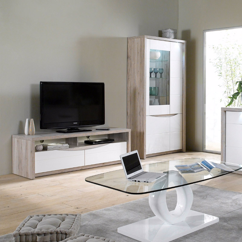 une s lection de meubles tv led blancs pour votre salon blog but. Black Bedroom Furniture Sets. Home Design Ideas