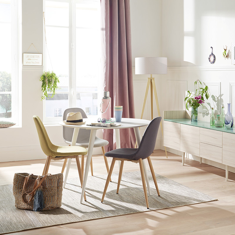chaises scandinaves jaune grise