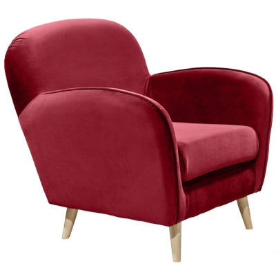 Fauteuil vintage CLUBY Tissu velours rouge
