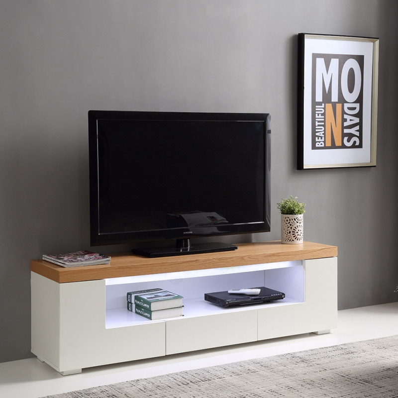 une s lection de meubles tv led blancs pour votre salon. Black Bedroom Furniture Sets. Home Design Ideas