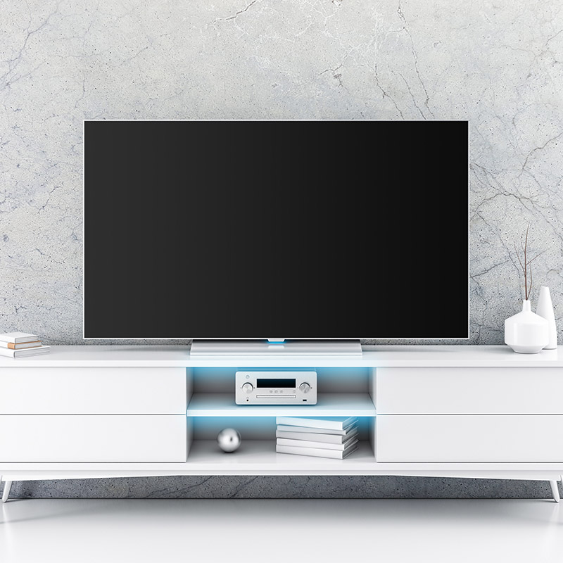 meuble tv blanc led bleue