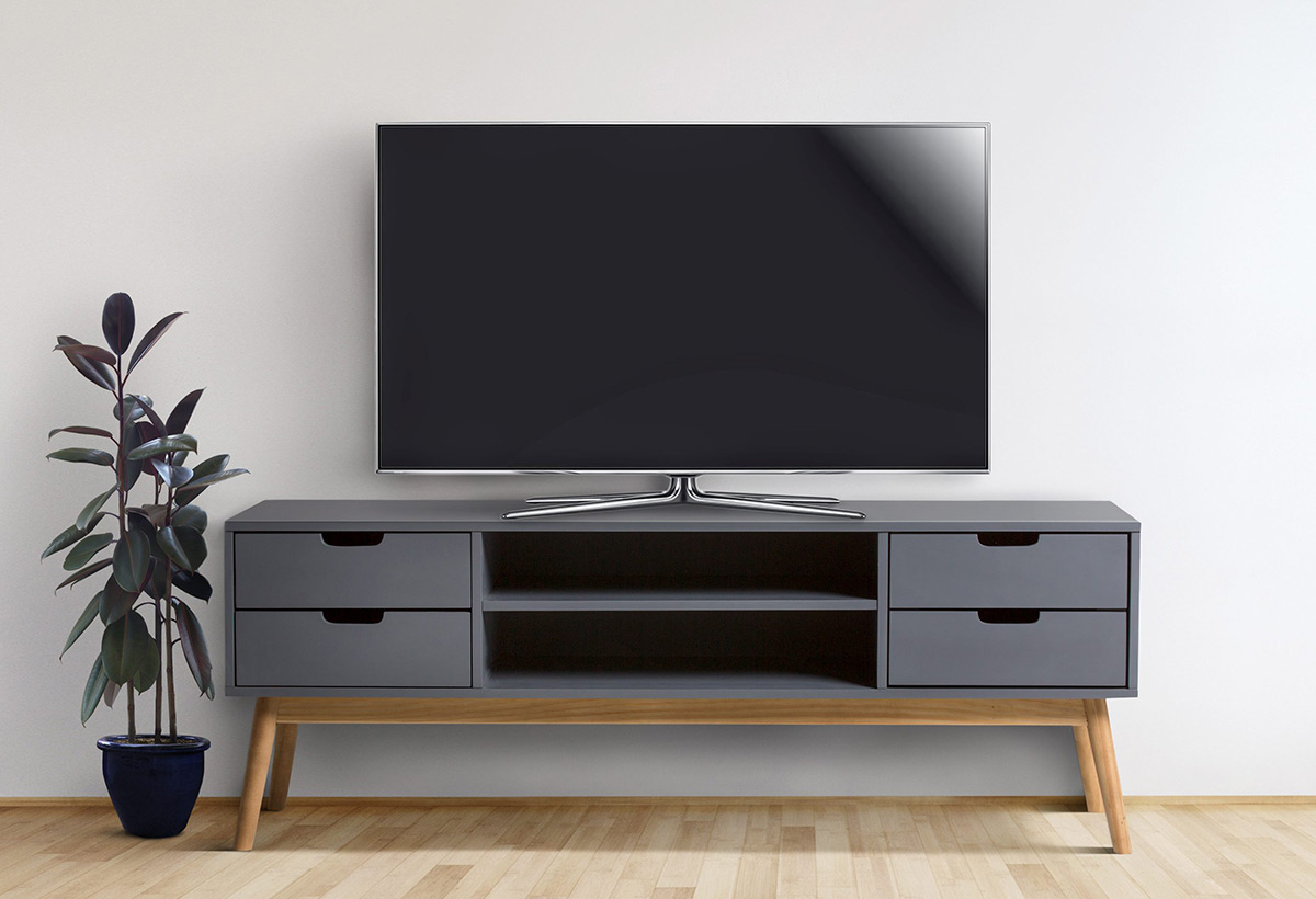 un meuble tv en bois pour cr er un coin t l chaleureux. Black Bedroom Furniture Sets. Home Design Ideas