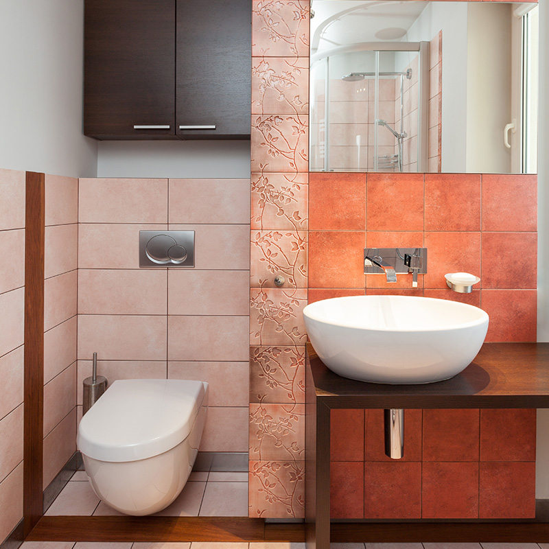 toilettes carrelage orange