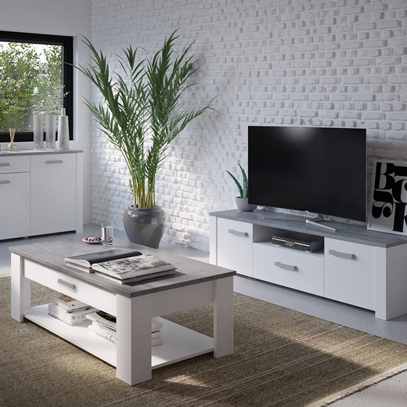 meuble tv gris blanc table basse