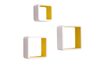 Set de 3 cubes muraux ON THE MOVE Blanc/Jaune