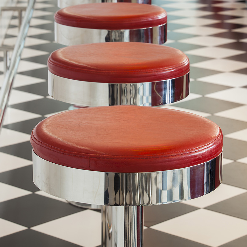 chaise bar rouge diner americain