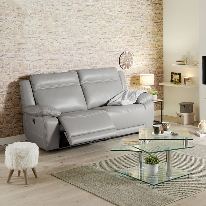 canape relax cuir gris