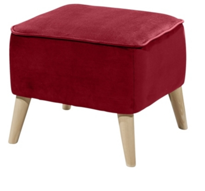 Repose pieds vintage CLUBY Tissu velours rouge
