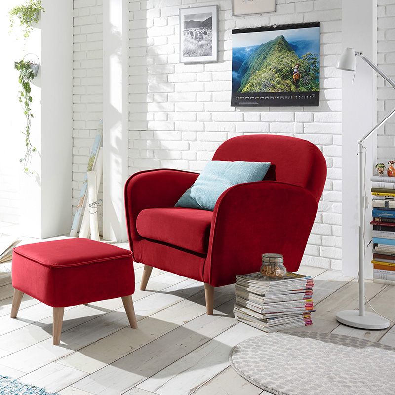 fauteuil velours rouge repose pieds