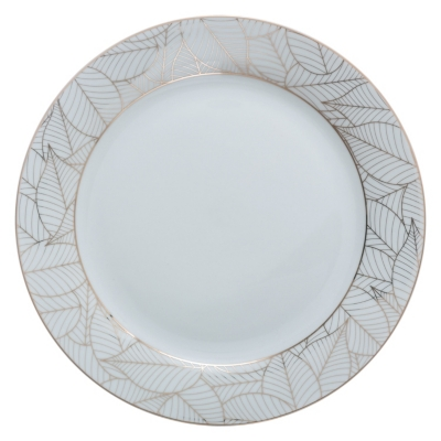 Assiette plate chic 27 cm JUNGLE Blanc / Or