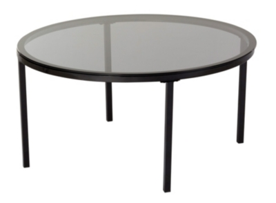 Table basse industrielle CLAUDIA Verre et Noir