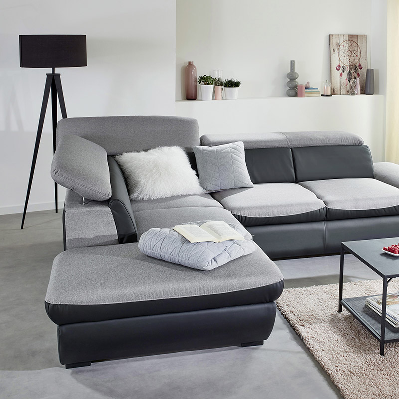 canapé angle relax gris
