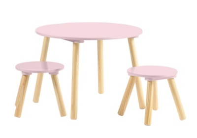 Table + 2 tabourets enfant FAGOTIN Rose
