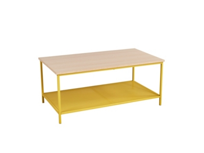 Table basse rectangle NAILA industrielle Jaune/Chêne