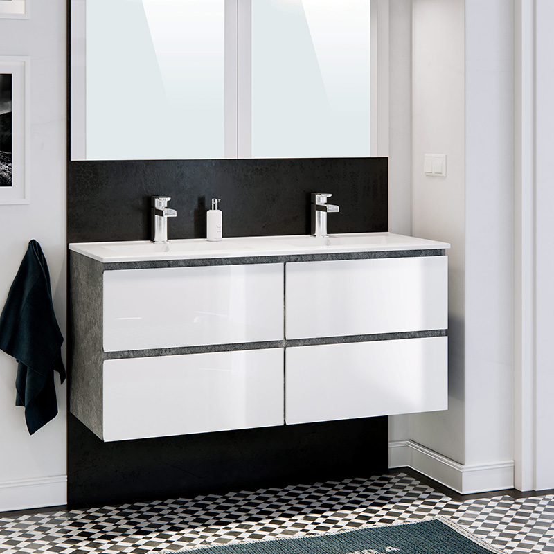 double vasque design blanc