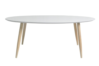 Table basse scandinave ovale MANON Blanc