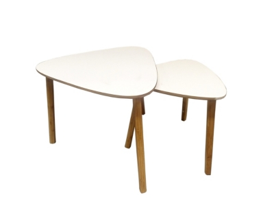 Table basse gigogne scandinave LOUKA Blanc