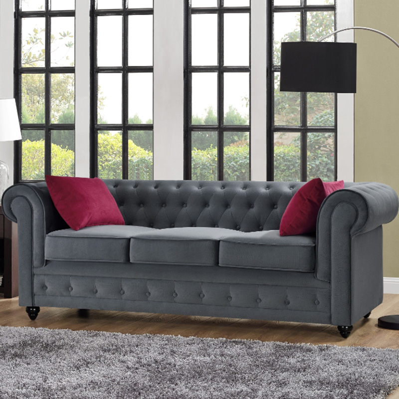canape velours chesterfield gris