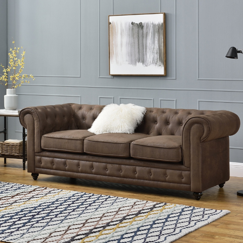 canape chesterfield vintage marron