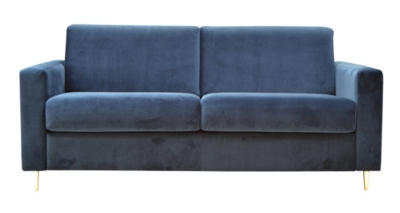 Canapé convertible 3 places GATSBY tissu velours marine