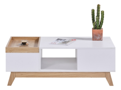 Table basse scandinave CLEO blanc/imitation chêne