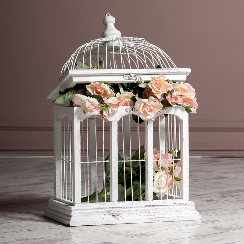 decoration cage blanche rose