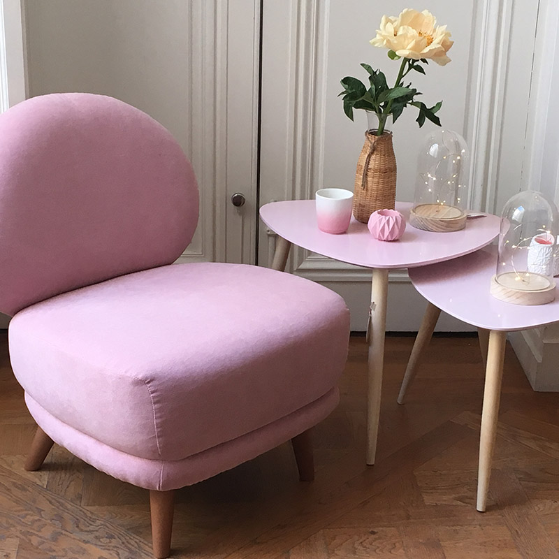 fauteuil table rose