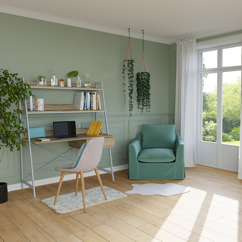 bureau decoration verte