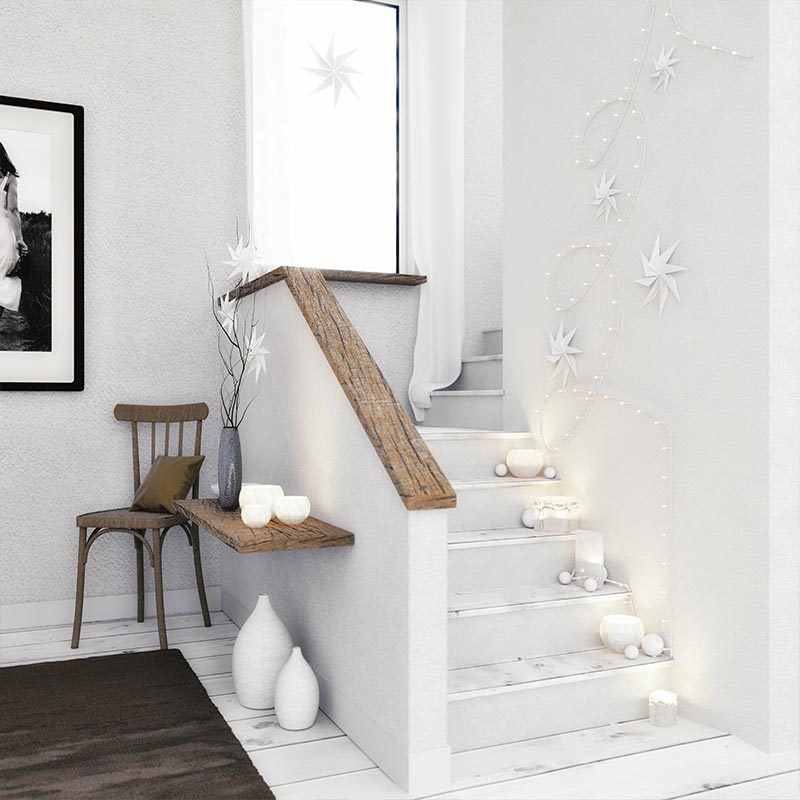 décorations blanches lumineuses escaliers