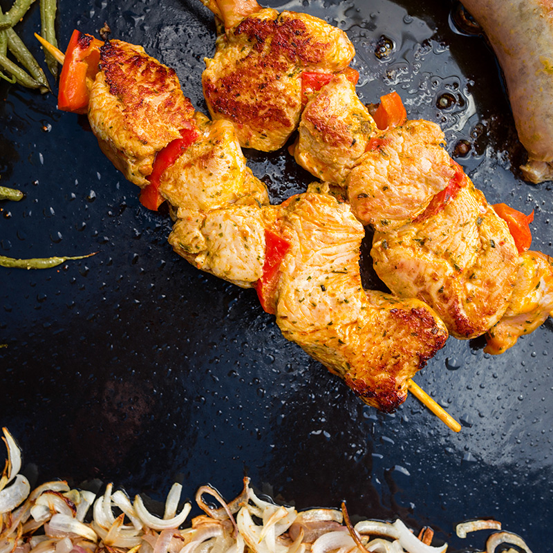 recette brochettes curry plancha