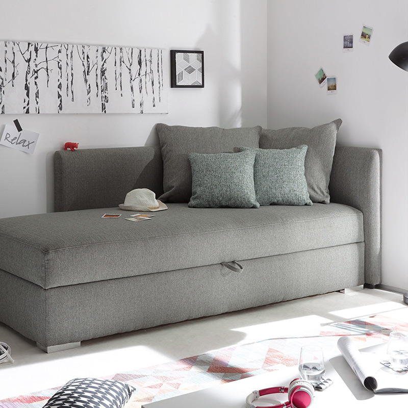 canape angle convertible gris clair