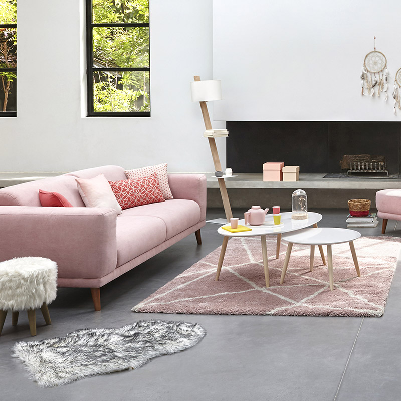 tapis scandinave rose