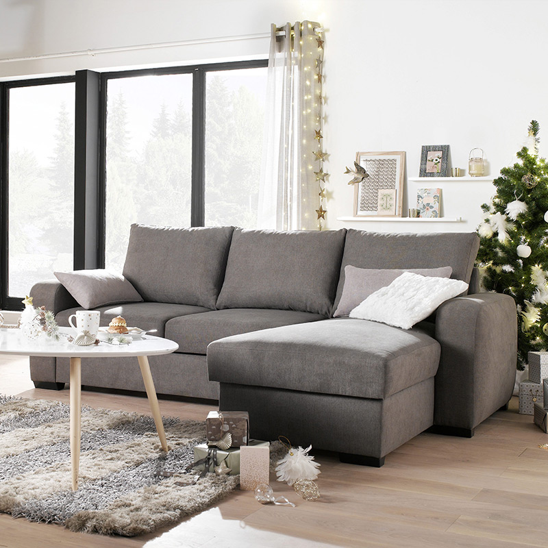 canape angle convertible gris fonce