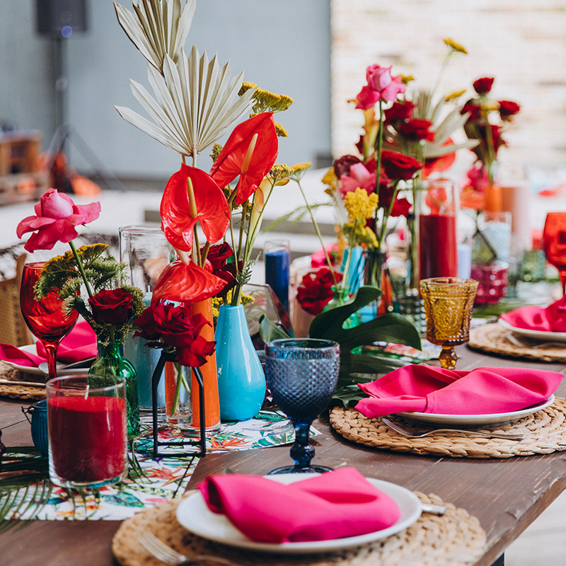decoration coloree table mariage